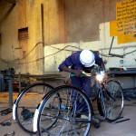 Ein Tricycle wird geschweißt
